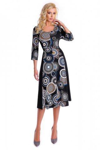Rochie neagra midi din vascoza Natalee cu cercuri imprimate