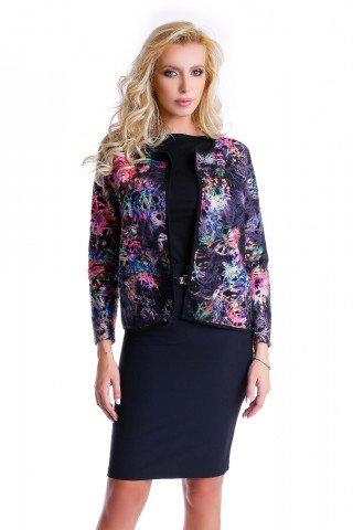 Jacheta neagra Natalee cu imprimeu multicolor