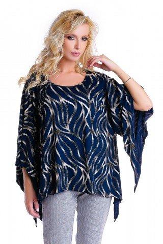 Bluza bleumarin Natalee cu imprimeu crem si maneci largi