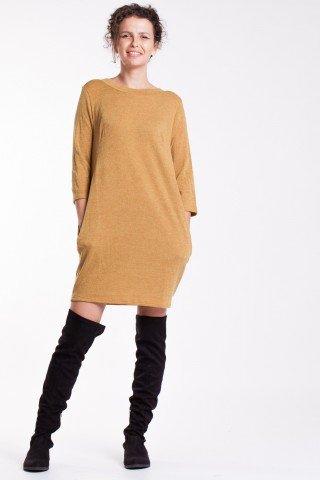 Rochie galben-mutar scurta cu pliuri la spate