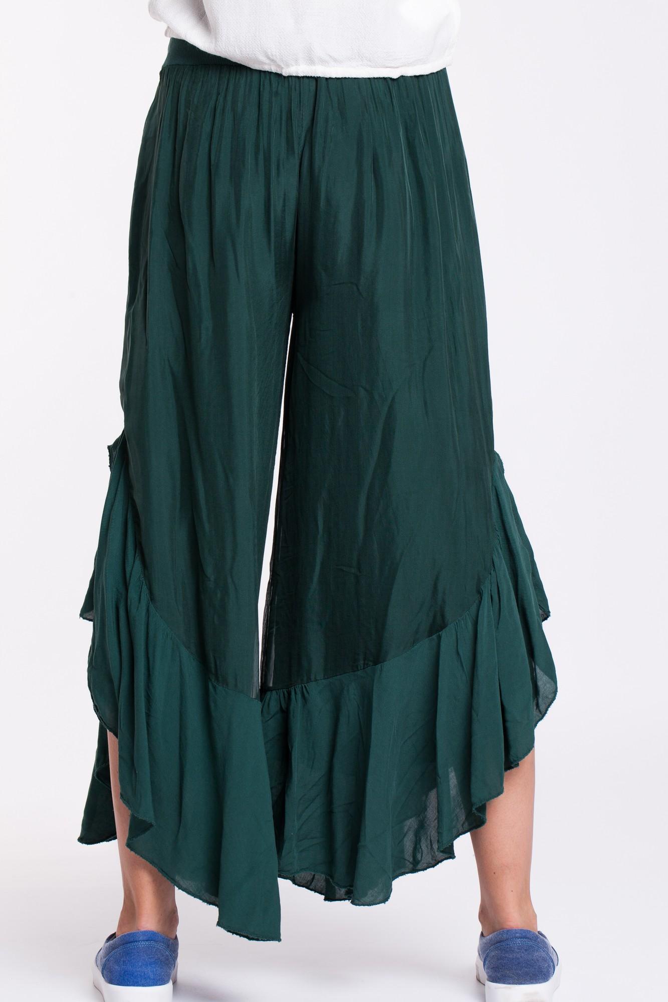 Pantaloni din matase verde inchis cu volan din voal