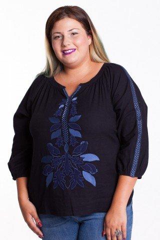 Bluza neagra Maitte din bumbac cu broderie albastra