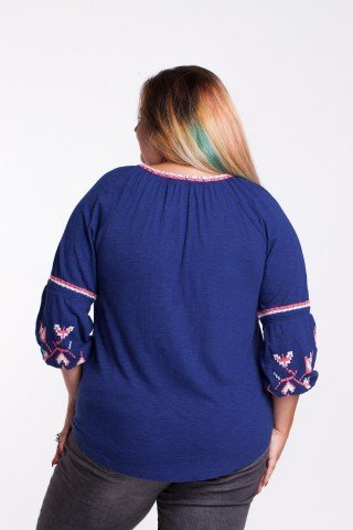 Bluza bleumarin din bumbac cu broderie etno