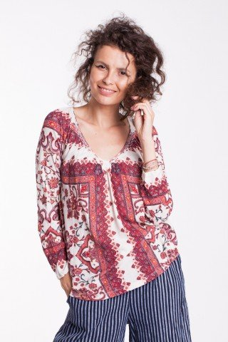 Bluza crem Sandy cu nasturi si imprimeu floral