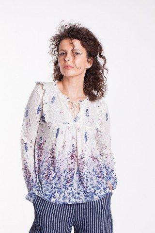 Bluza crem Casy cu imprimeu floral
