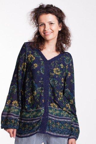 Bluza bleumarin Marci cu broderie si imprimeu floral