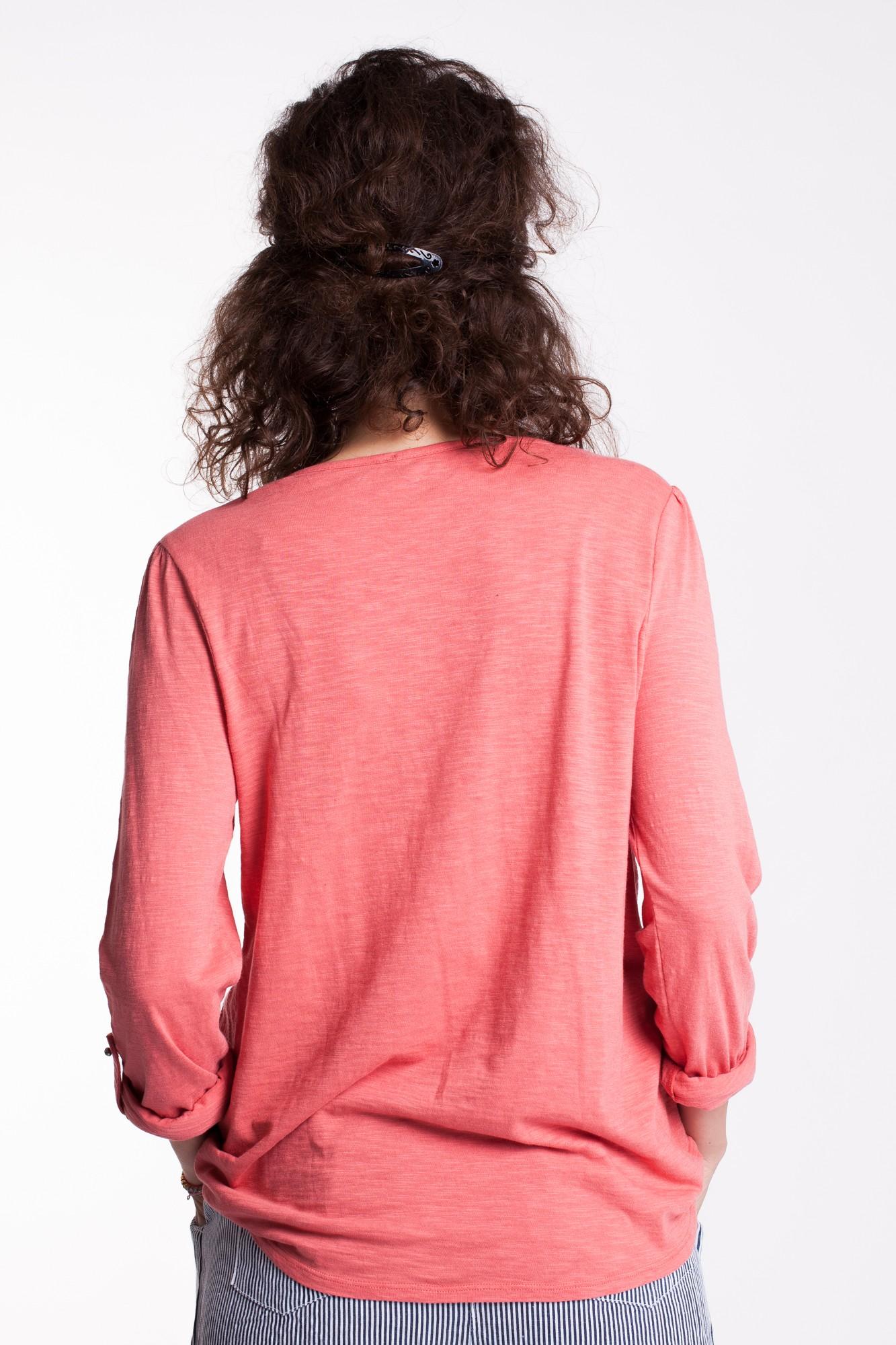 Bluza rosu-capucin din bumbac Lora cu broderie