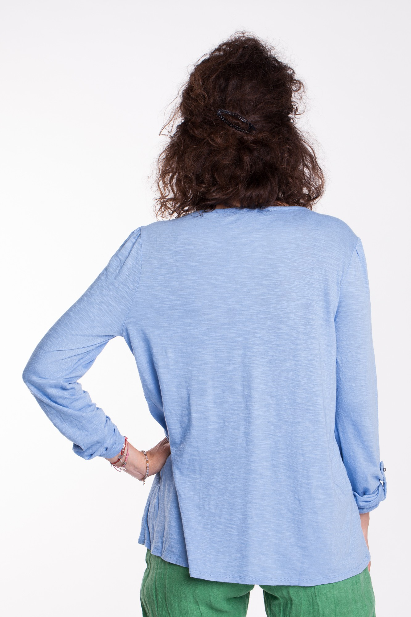 Bluza baby-bleu din bumbac Lora cu broderie