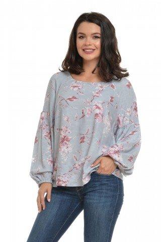 Bluza Eranthe cu maneca bufanta si imprimeu floral