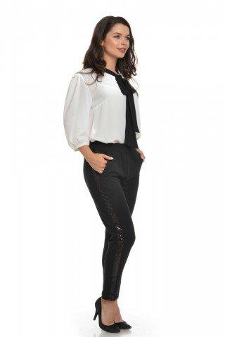 Pantaloni Eranthe cu vipusca din paiete