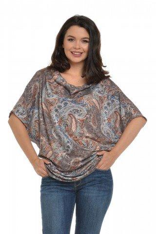 Bluza Eranthe cu falduri si imprimeu paisley