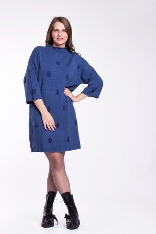 Rochie pulover bleumarin cu buline
