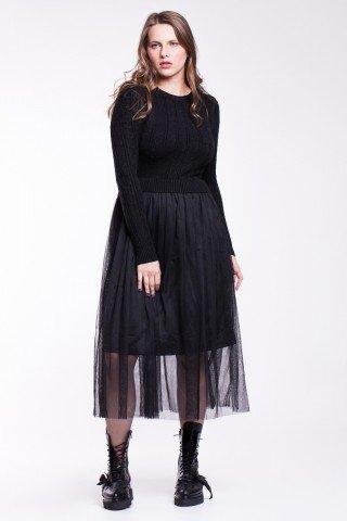 Rochie neagra tricotata cu tulle negru
