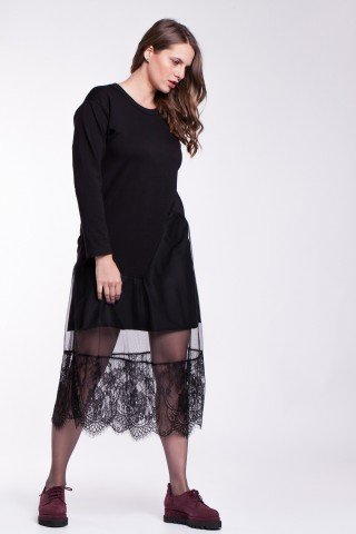 Rochie neagra glam-rock cu insertie asimetrica de dantela
