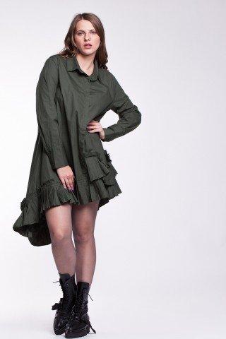 Rochie tip camasa verde cu volane