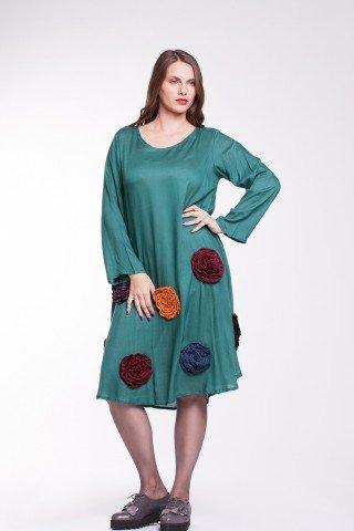 Rochie verde din vascoza cu flori colorate