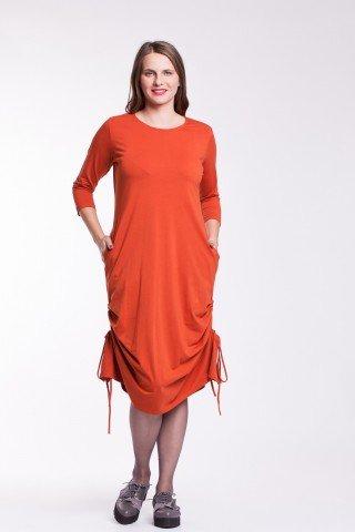 Rochie portocalie cu snururi laterale din bumbac organic