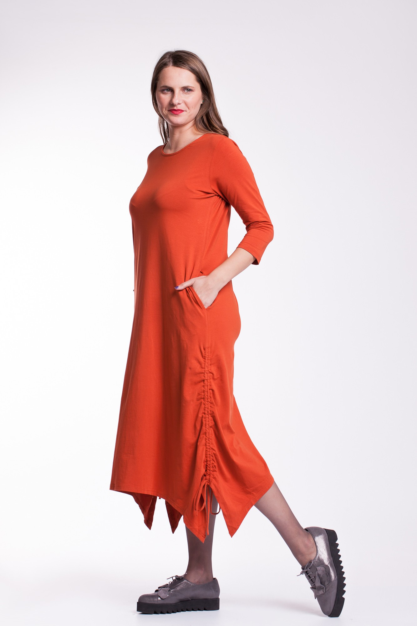 Rochie fronsata portocalie  Ela cu snururi laterale din bumbac organic