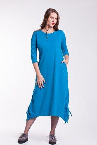 Rochie albastra asimetrica Ela fronsata