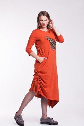 Rochie portocalie asimetrica cu aplicatie brodata - paun