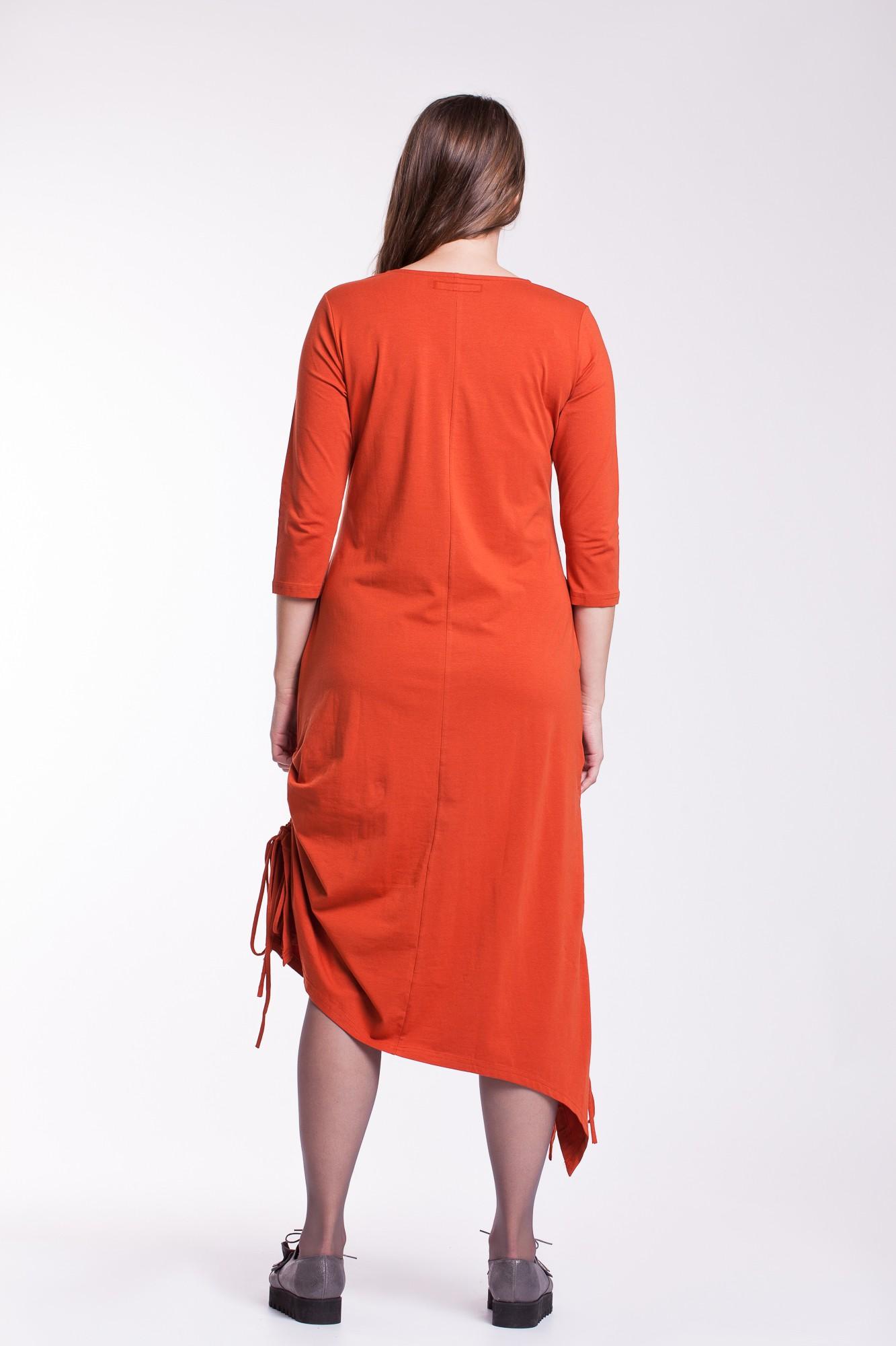 Rochie portocalie fronsata Ela cu aplicatie brodata - paun