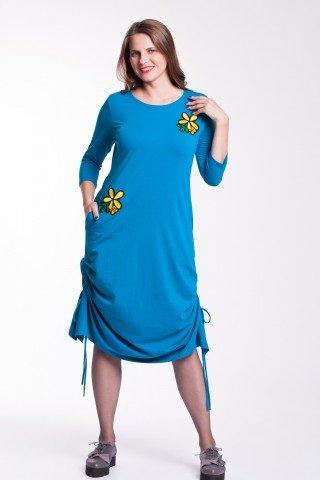 Rochie albastra Ela fronsata cu aplicatie florala