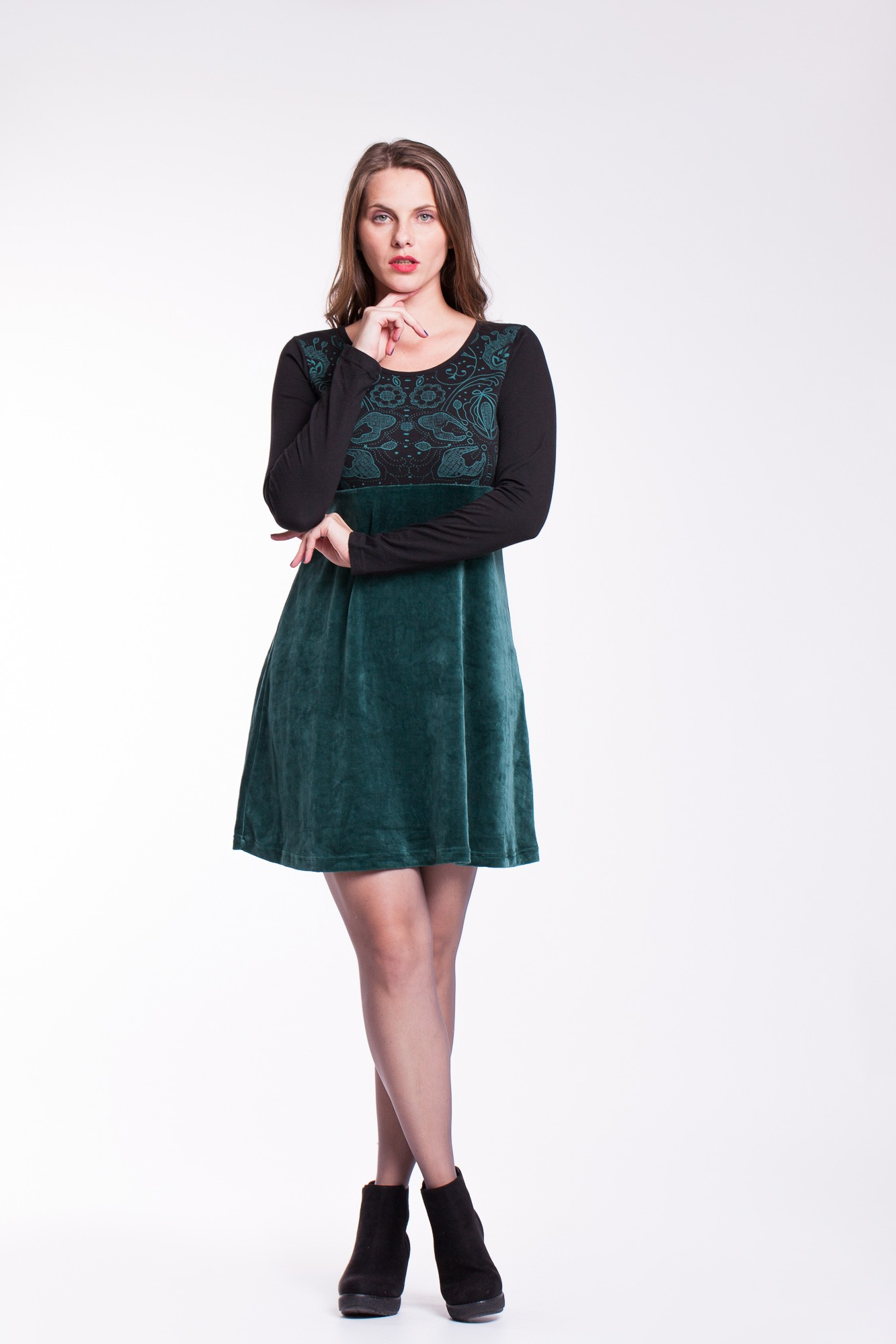 Rochie verde catifea Amira imprimata