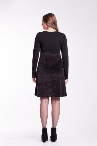 Rochie neagra catifea Amira imprimata