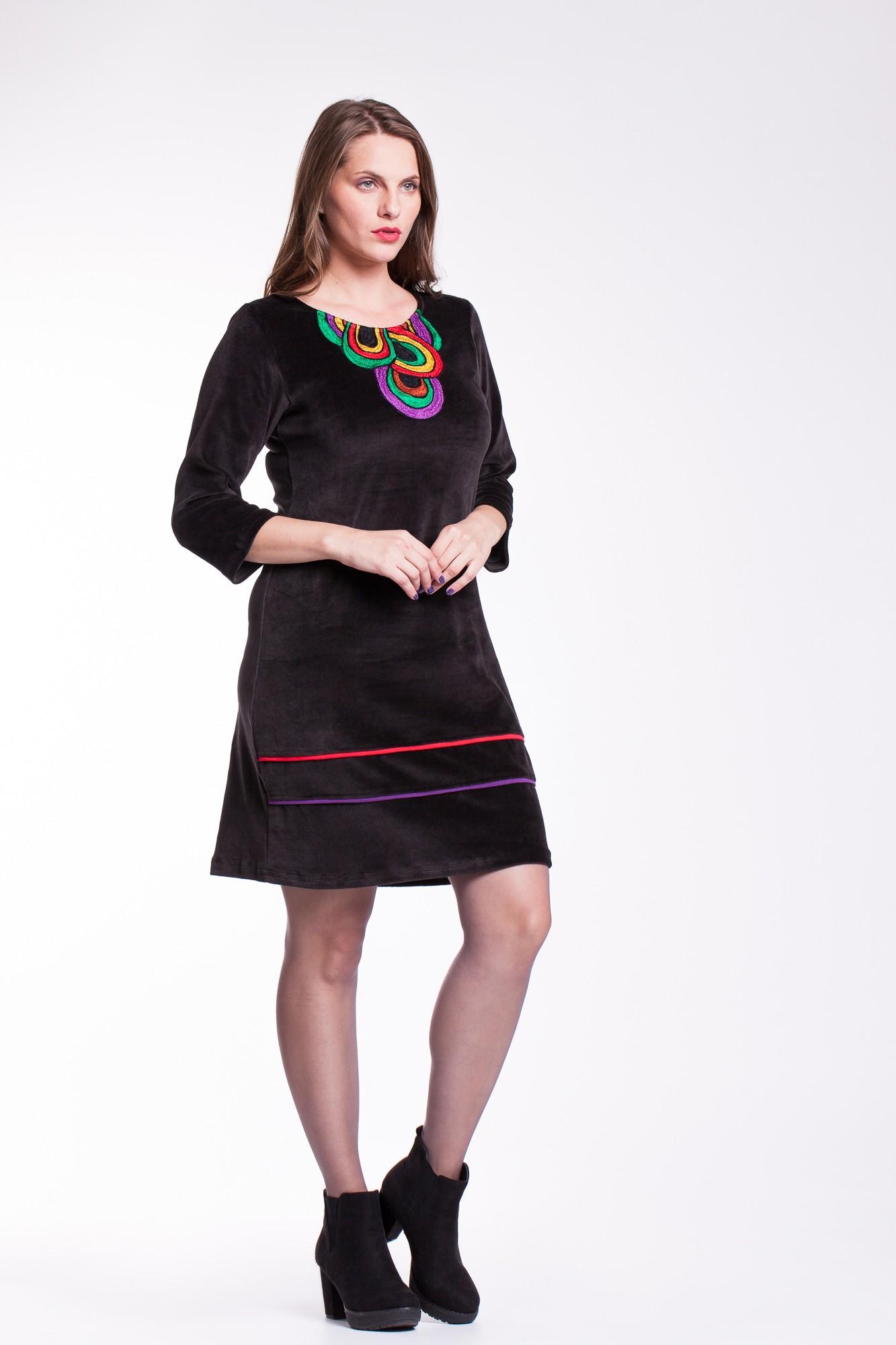 Rochie catifea neagra Afrodita casual