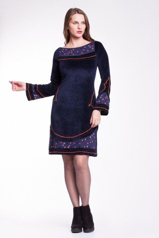 Rochie catifea bleumarin Serenity casual