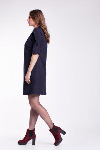 Rochie bleumarin eleganta cu guler drapat