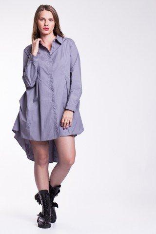 Rochie tip camasa lila din bumbac cu pense la spate