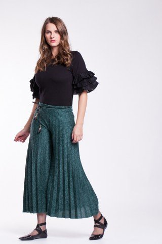 Pantaloni verzi plisati cu snur