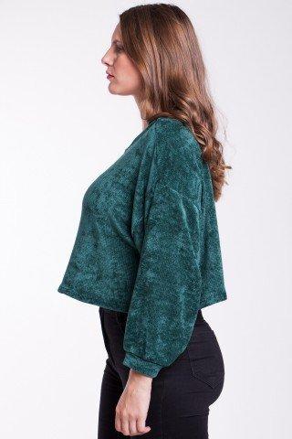 Pulover verde catifelat Ayan scurt
