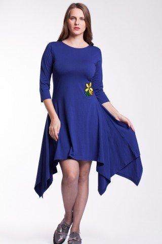 Rochie albastra asimetrica cu floare aplicata