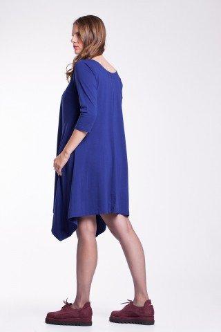 Rochie albastra asimetrica cu aplicatii