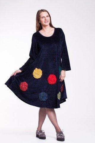 Rochie de catifea bleumarin cu flori colorate