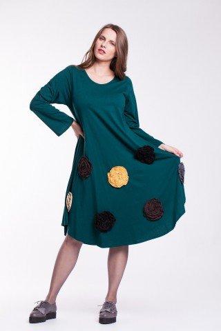 Rochie de bumbac organic verde cu flori colorate