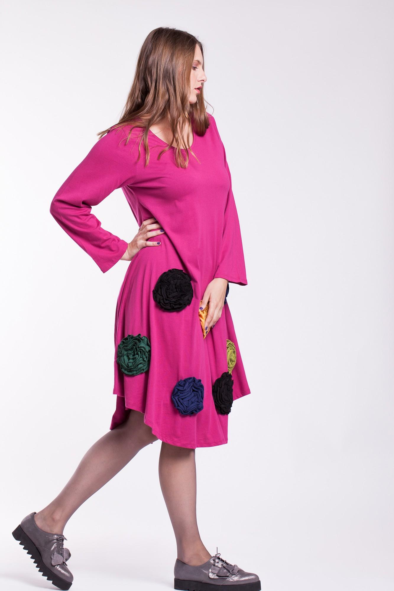 Rochie de bumbac organic fucsia cu flori colorate