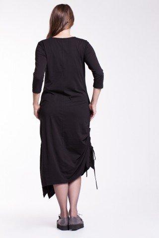 Rochie neagra fronsata Ela cu snururi laterale din bumbac organic