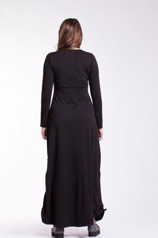 Rochie neagra lunga Sandra cu snururi laterale din bumbac