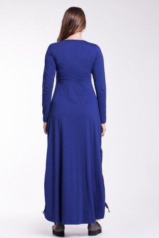 Rochie albastra lunga Sandra cu snururi laterale din bumbac