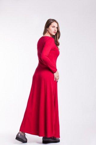 Rochie rosu-coacaza lunga Sandra cu snururi laterale din bumbac
