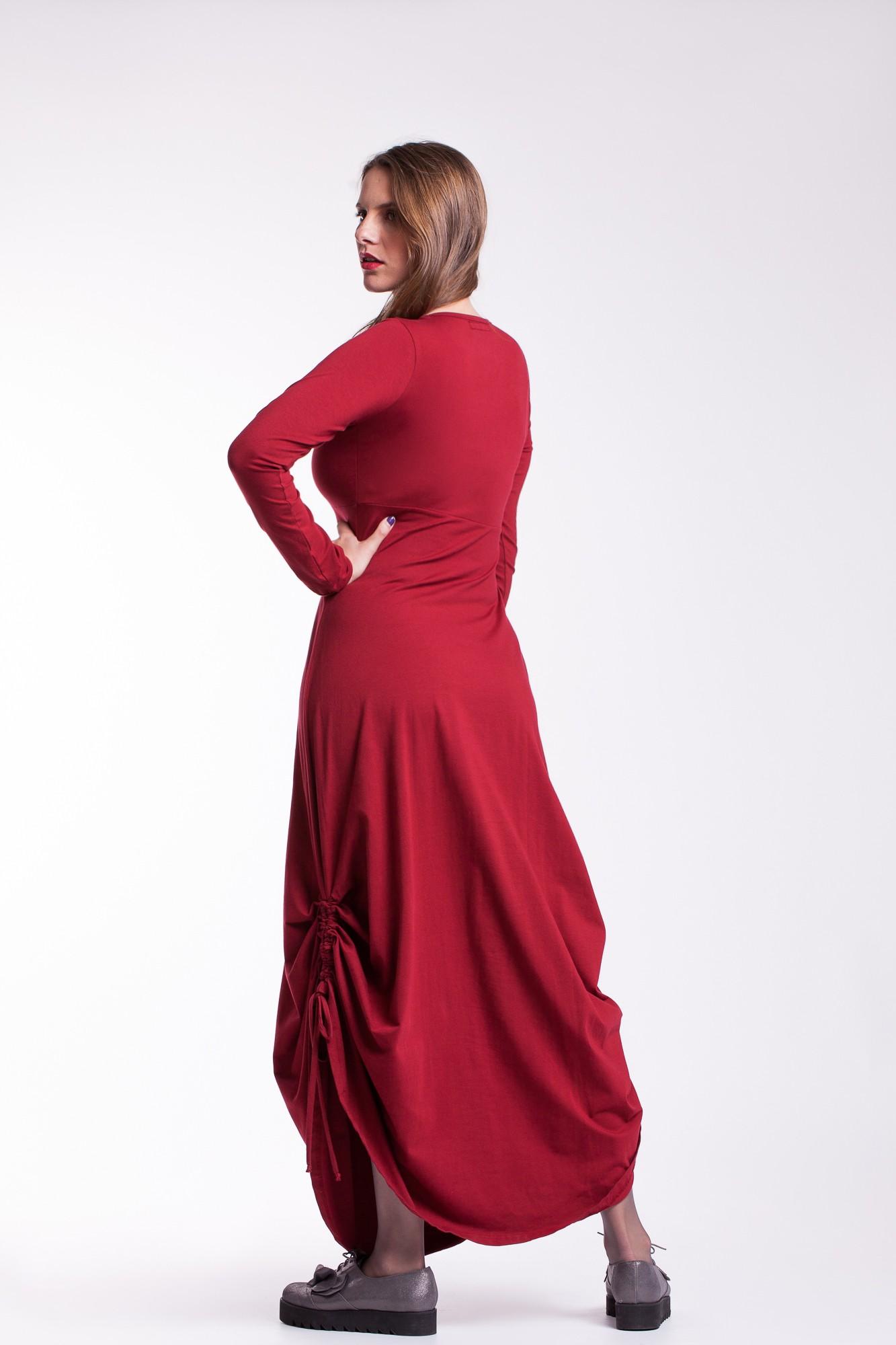 Rochie caramizie lunga Sandra cu snururi laterale din bumbac