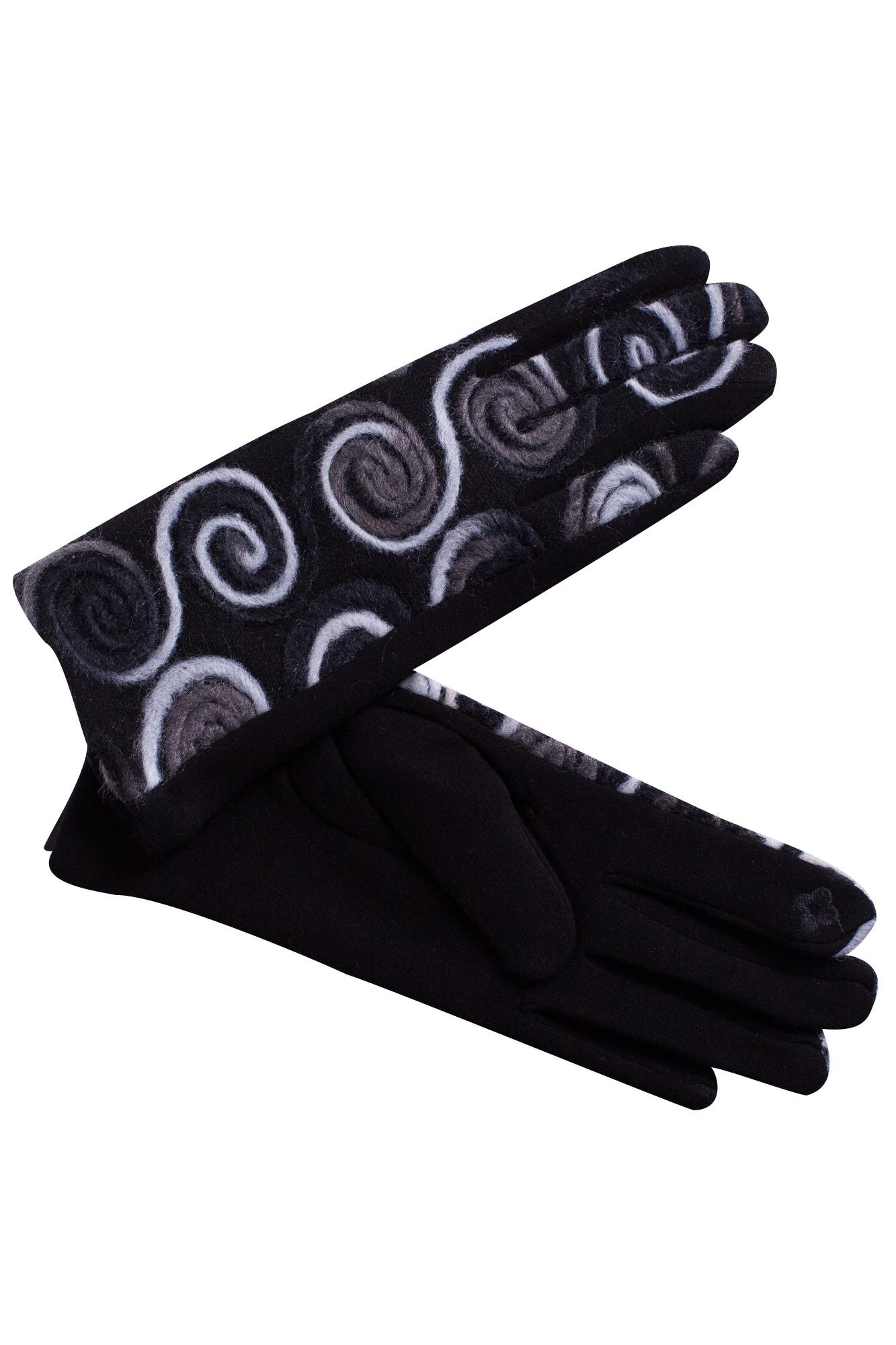 Manusi negre elegante cu broderie alba
