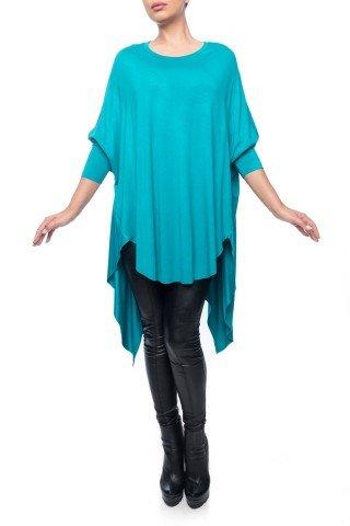 Bluza turcoaz Dona Kyros din jerse de vascoza