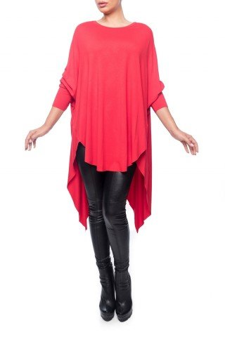 Bluza rosie Dona Kyros din jerse de vascoza