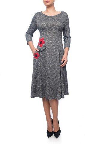 Rochie gri Dona Kyros cu buzunare si aplicatie florala