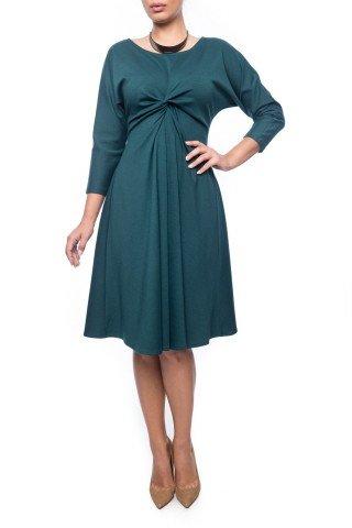 Rochie verde inchis Dona Kyros cu impletitura