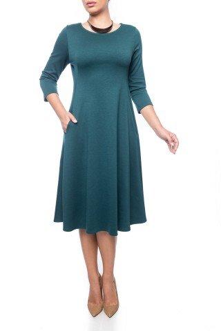 Rochie verde inchis Dona Kyros cu buzunare